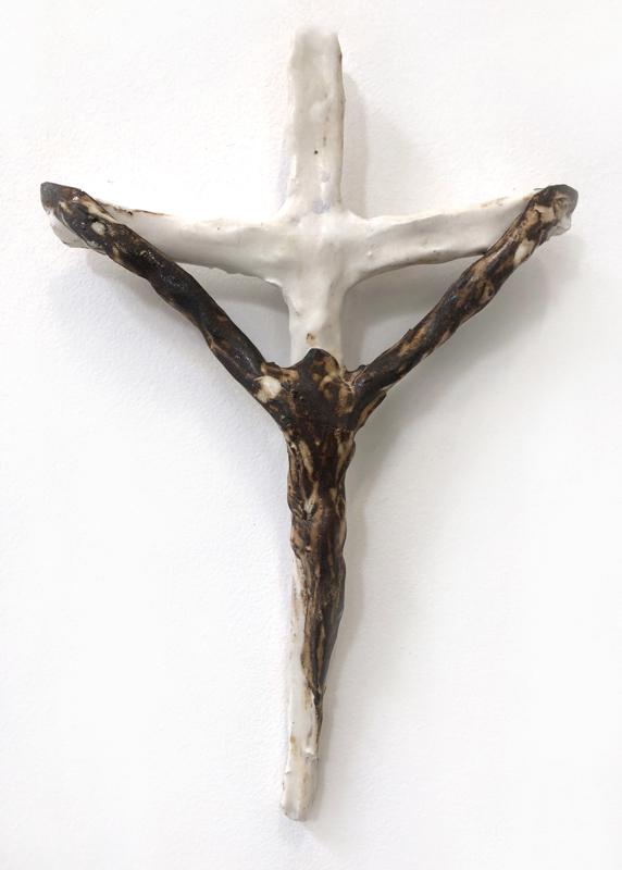 Richard Lewer  Crucifix #13,  2018 Fired stoneware 290 x 190 mm  _______