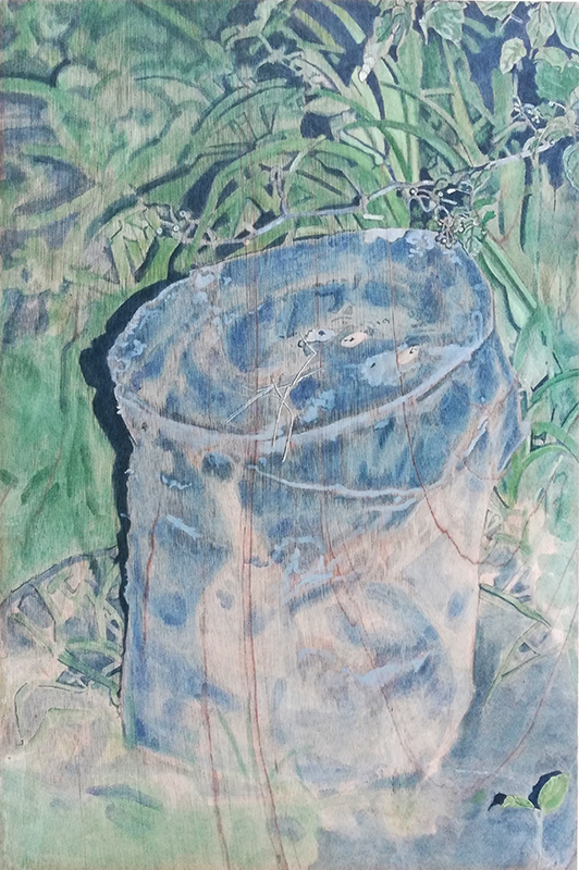 Lily McRae  Untitled (Stump) , 2018 Oil pigment and poppy oil on meranti panel 830 x 550 mm $1,200 incl. GST  _______
