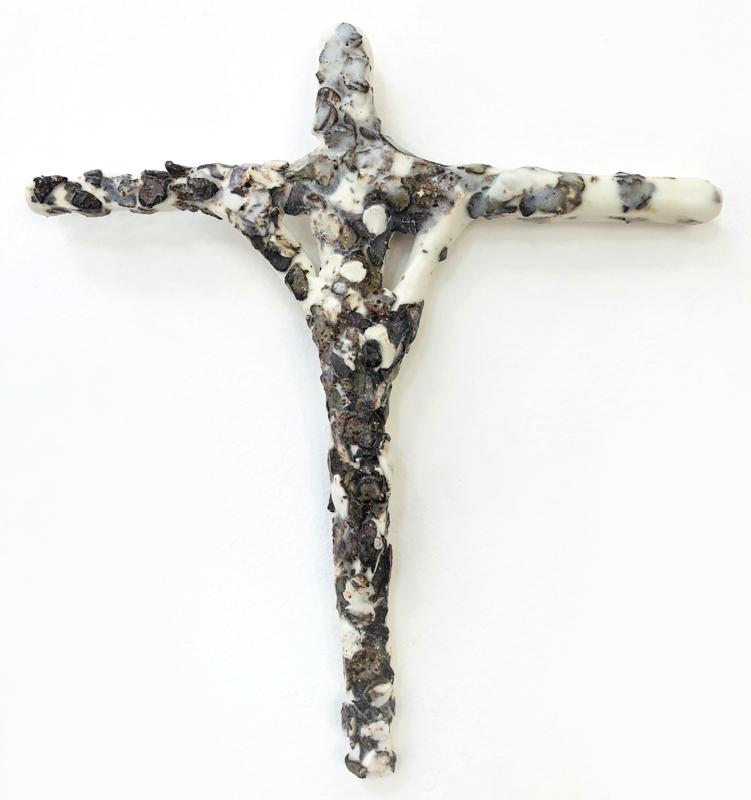 Richard Lewer  Crucifix #26,  2018 Fired stoneware 260 x 240 mm  _______