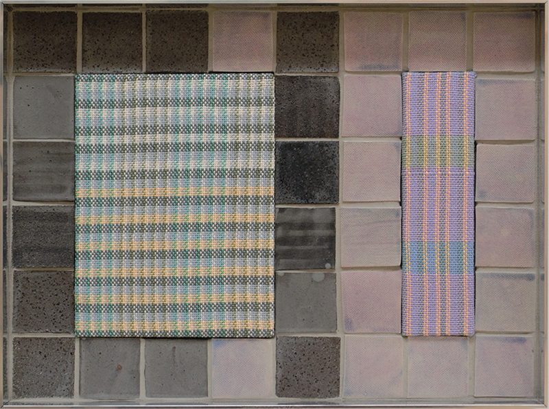 Tia Ansell  Ciao (Purple),  2019 Linen, cotton, acrylic and polyester weavings, ceramic tiles and grout, in custom aluminium frame 460 x 342 x 60 mm  ______