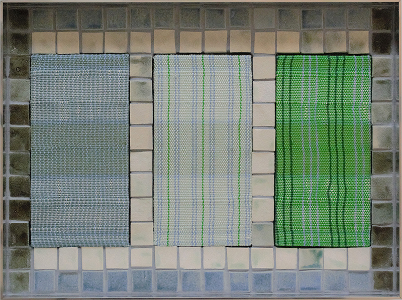 Tia Ansell  I AM (White rugs),  2019 Linen, cotton, silk and wool weaving, ceramic tiles and grout in custom aluminium frame 460 x 342 x 60 mm  ______