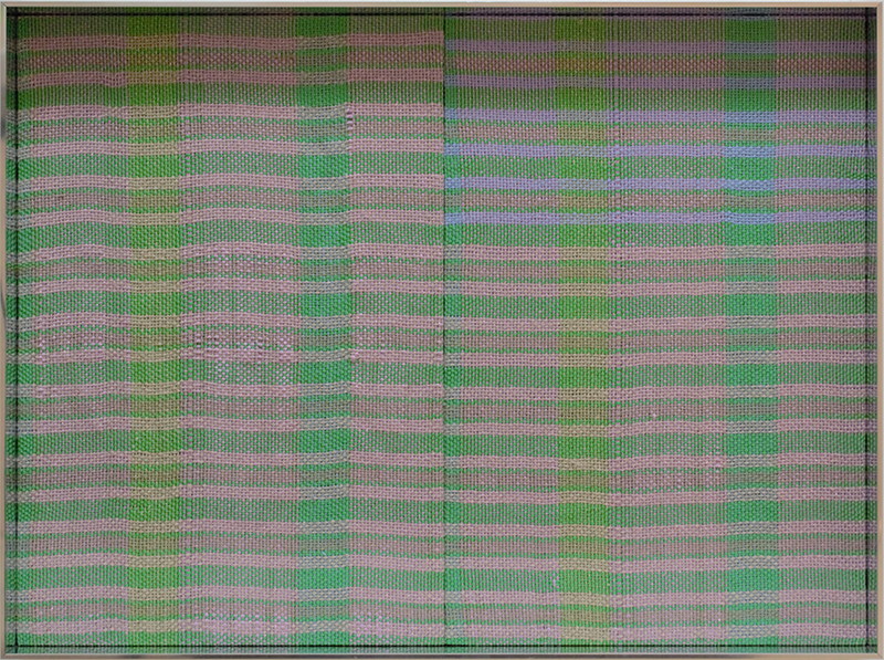 Tia Ansell  Duplicate (Green and Purple),  2019 Silk, linen, acrylic and polyester weavings, in custom aluminium frame 460 x 342 x 60 mm  ______