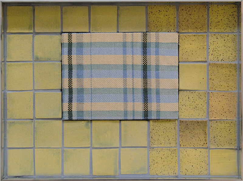 Tia Ansell  Sunshine Yellow (Blue Plaid),  2019 Linen, silk and cotton weaving, ceramic tiles and grout, in custom aluminium frame 342 x 460 x 60 mm  ______