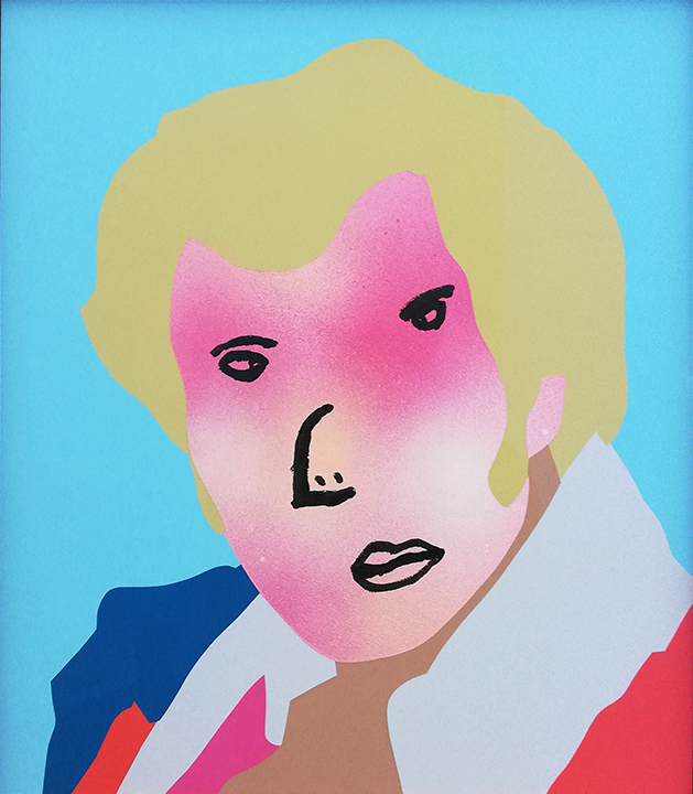 Wayne Youle  Generational Heroes , 2018 Acrylic, enamel and oil on board 400 x 350 mm [Evel Knievel]  _______