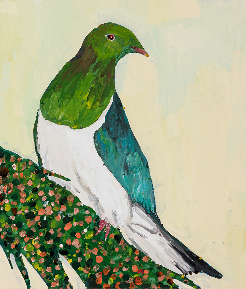Richard Lewer  Wood Pigeon,  2019 Enamel on canvas 355 x 310 mm [Private collection]  ______