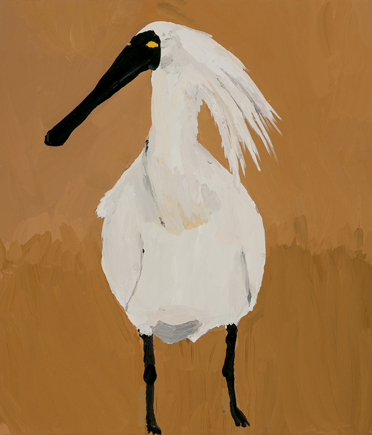 Richard Lewer  Royal Spoonbill,  2019 Enamel on canvas 355 x 310 mm [Private collection]  ______
