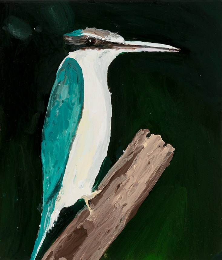 Richard Lewer  Kingfisher,  2019 Enamel on canvas 355 x 310 mm [Private collection]  ______