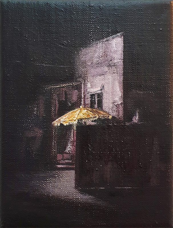 Daniel Unverricht  Hitch , 2019 Oil on linen 200 x 150 mm [Private collection]  ______