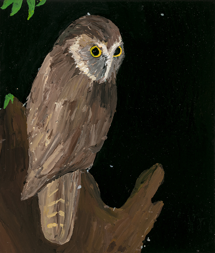 Richard Lewer  Morepork , 2019 Enamel on canvas 355 x 310 mm [Private collection]  _____
