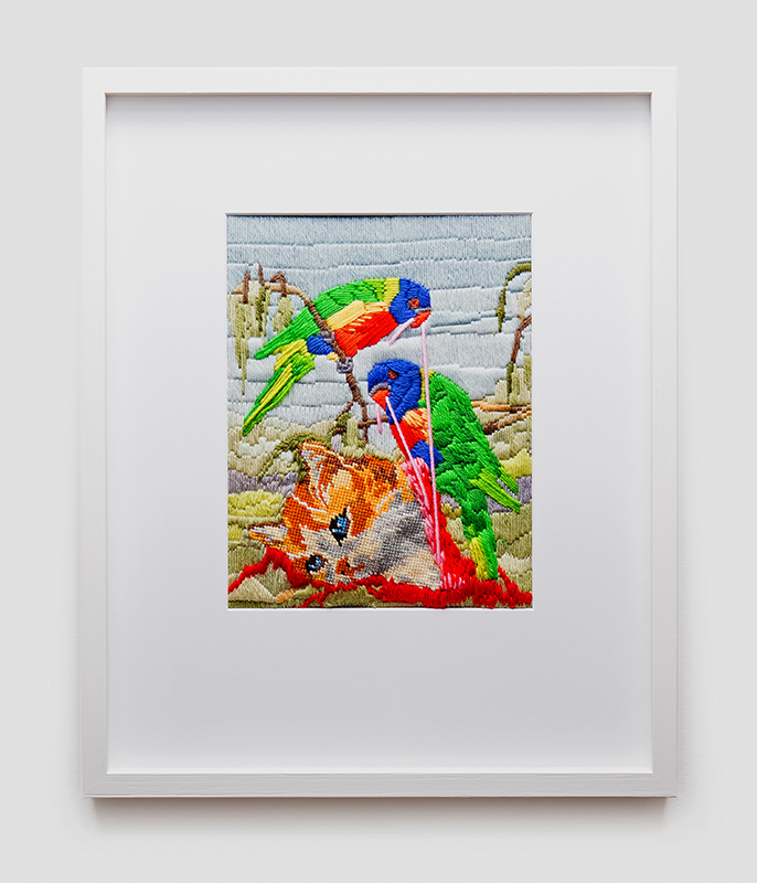 Angela Singer  Aviary , 2014 Framed wool needlepoint 520 x 425 mm  ______