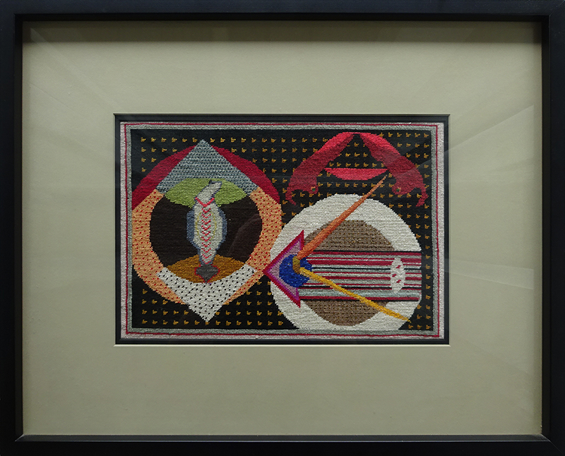 Katy Corner  Overload , 2005 Framed silk tapestry 220 x 325 mm  ______