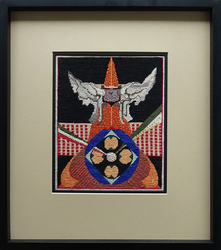 Katy Corner  Avenger , 2003 Framed silk tapestry 262 x 210 mm  ______