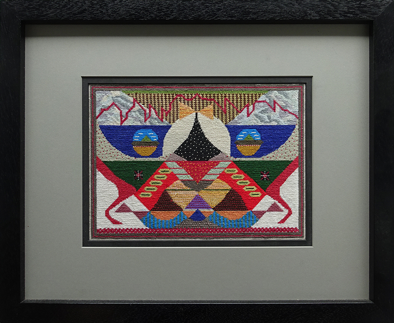 Katy Corner  Incoming,  2004 Framed silk tapestry 230 x 312 mm  ______