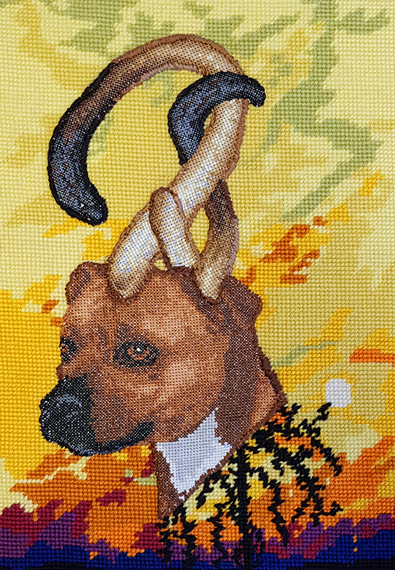 Angela Singer  Stray Stone , 2019 Framed wool and cotton needlepoint 500 x 600 mm  ______