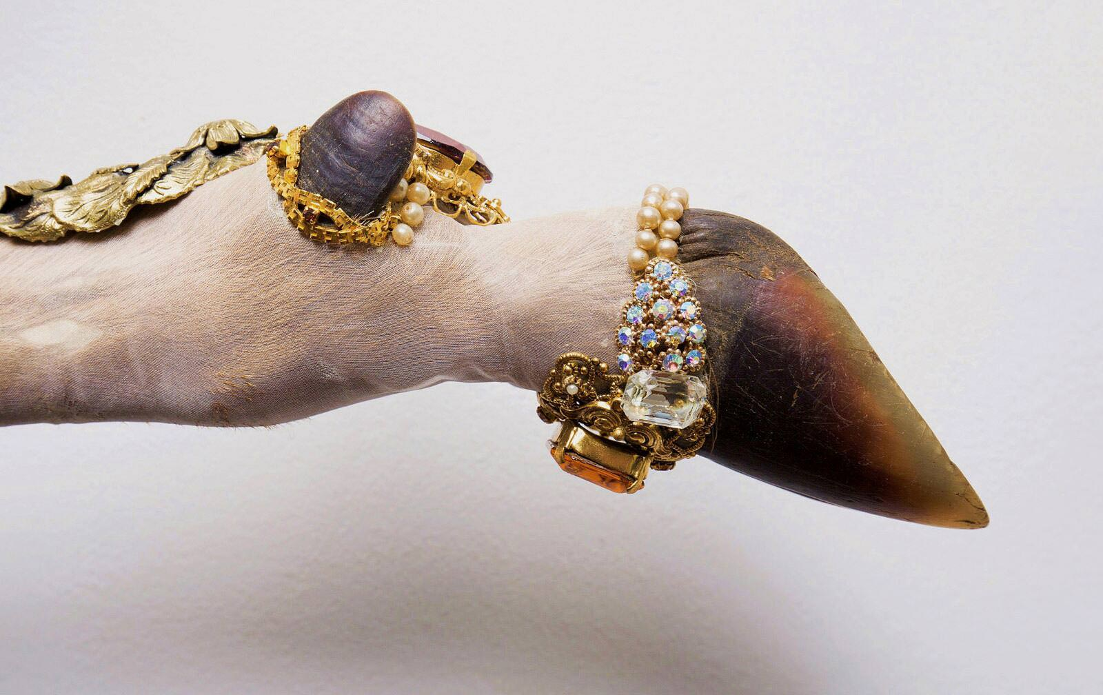 Angela Singer  Phantom Limb (Relic series) , 2015 (detail) Recycled vintage taxidermy deer leg, gems, mixed media 80 x 370 x 65 mm [Private collection]   _______