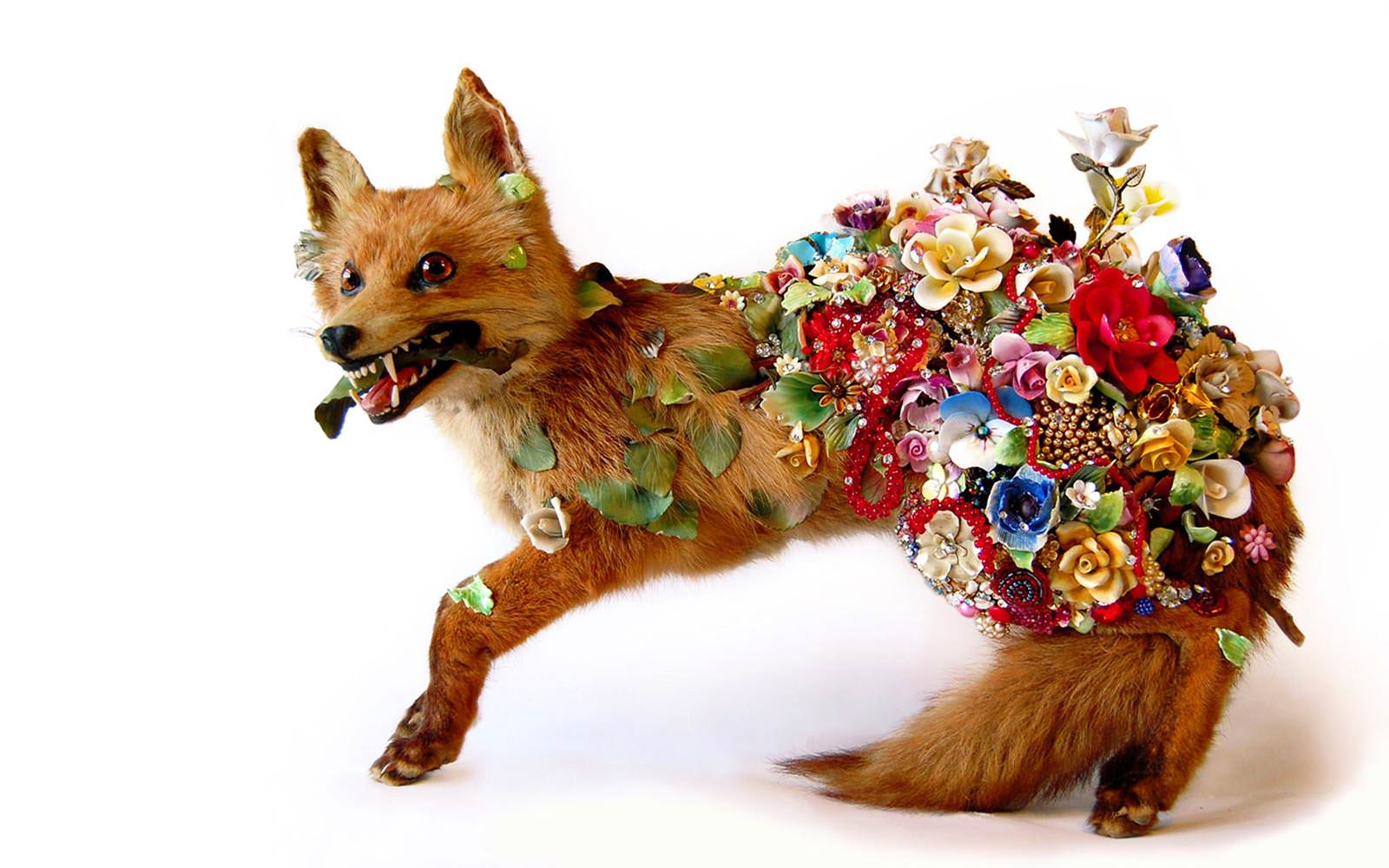 Angela Singer  Hedgerow , 2010 Recycled vintage taxidermy red fox, jewels, gems, mixed media 420 x 690 x 240 mm  _______