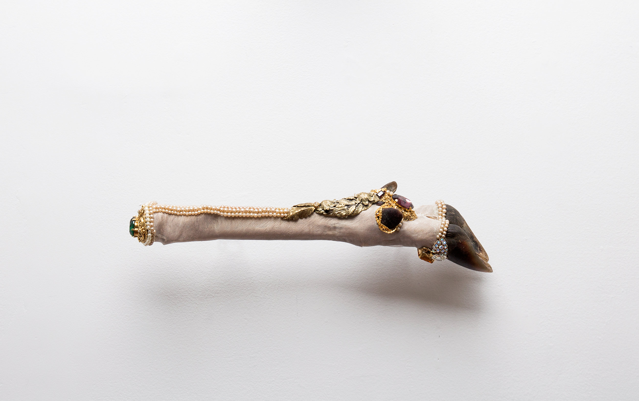 Angela Singer  Phantom Limb (Relic series) , 2015 Recycled vintage taxidermy deer leg, gems, mixed media 80 x 370 x 65 mm [Private collection]   _______