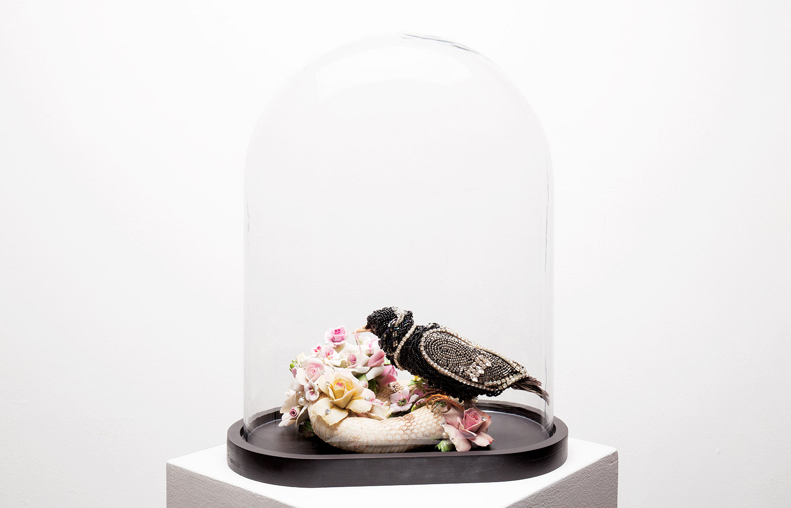 Angela Singer  Slithering , 2012 - 2015 Recycled vintage taxidermy white cobra snake and blackbird, gems mixed media 410 x 320 x 180 mm   _______