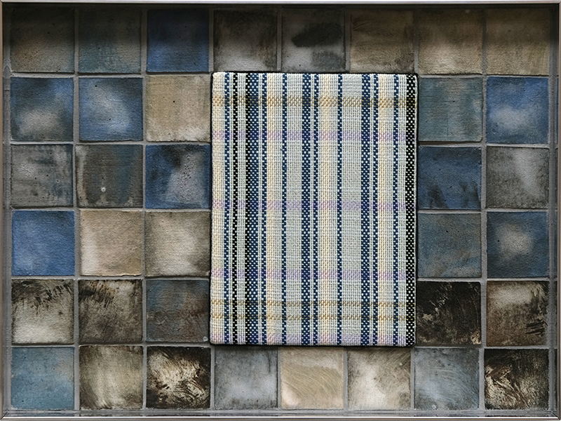 Tia Ansell  Blue (Fog) , 2019 Cotton, linen and silk weaving, ceramic tiles and grout in aluminium frame 340 x 460 x 60 mm  ______