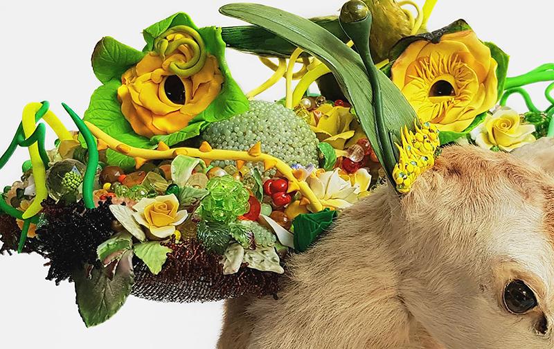 Angela Singer  Anthropocene accelerated assemblage , 2019 Vintage taxidermy deer, vintage taxidermy glass deer eyes, plastic, ceramic, crystals, gems 490 x 560 x 590 mm  ______