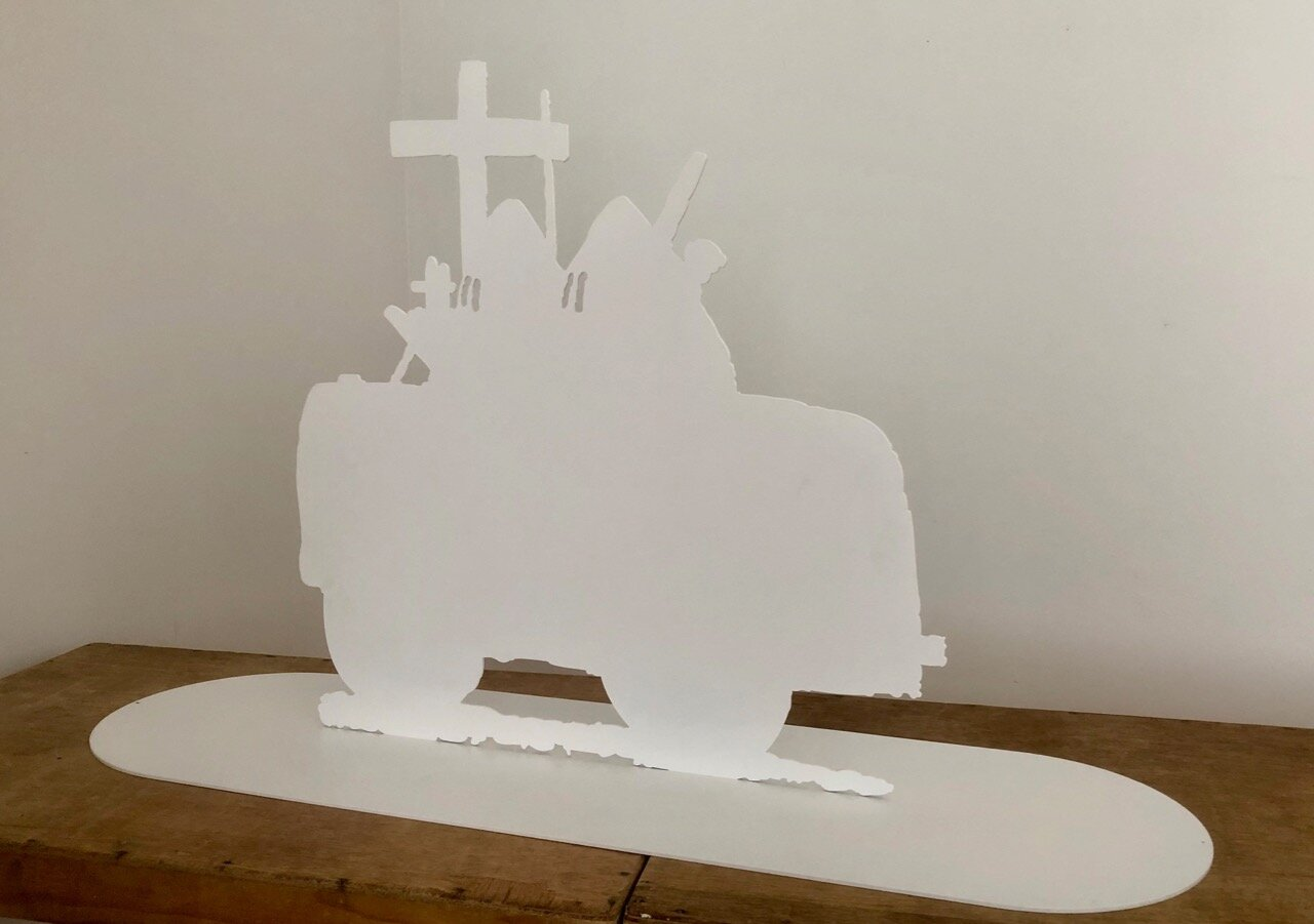 Wayne Youle  Wishful thinking (I dreamt Guston picked me up for college) , 2019 Powder coated silhouette steel 700 x 1170 x 350 mm Edition of 3  ______