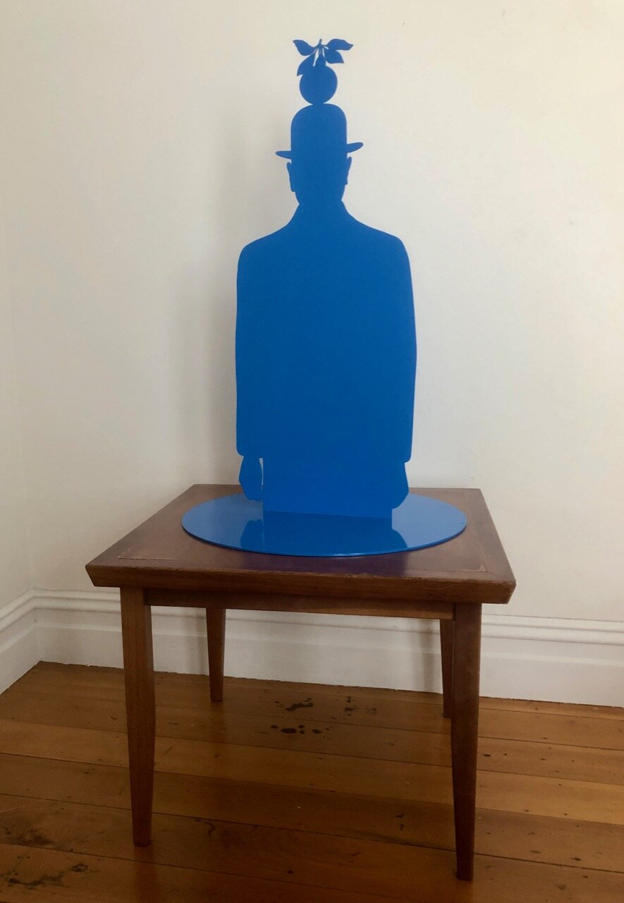 Wayne Youle  If you hold still, take a deep breath and everything will be alright (he says with shaking hands),  2019 Powder coated silhouette steel 870 x 560 x 560 mm Edition of 3  ______