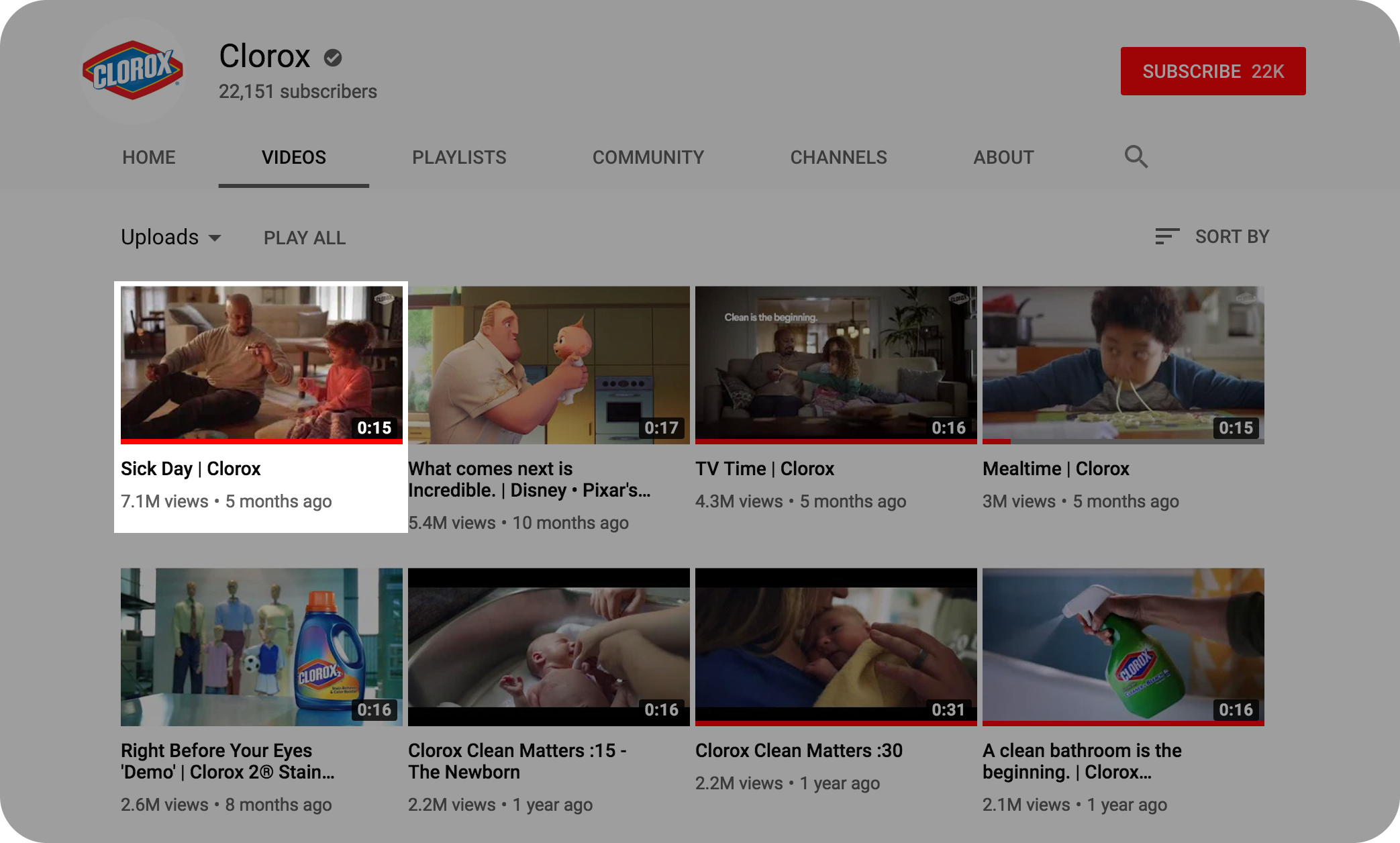 Clorox's Most Popular Video on YouTube - +7.1 M views and counting…