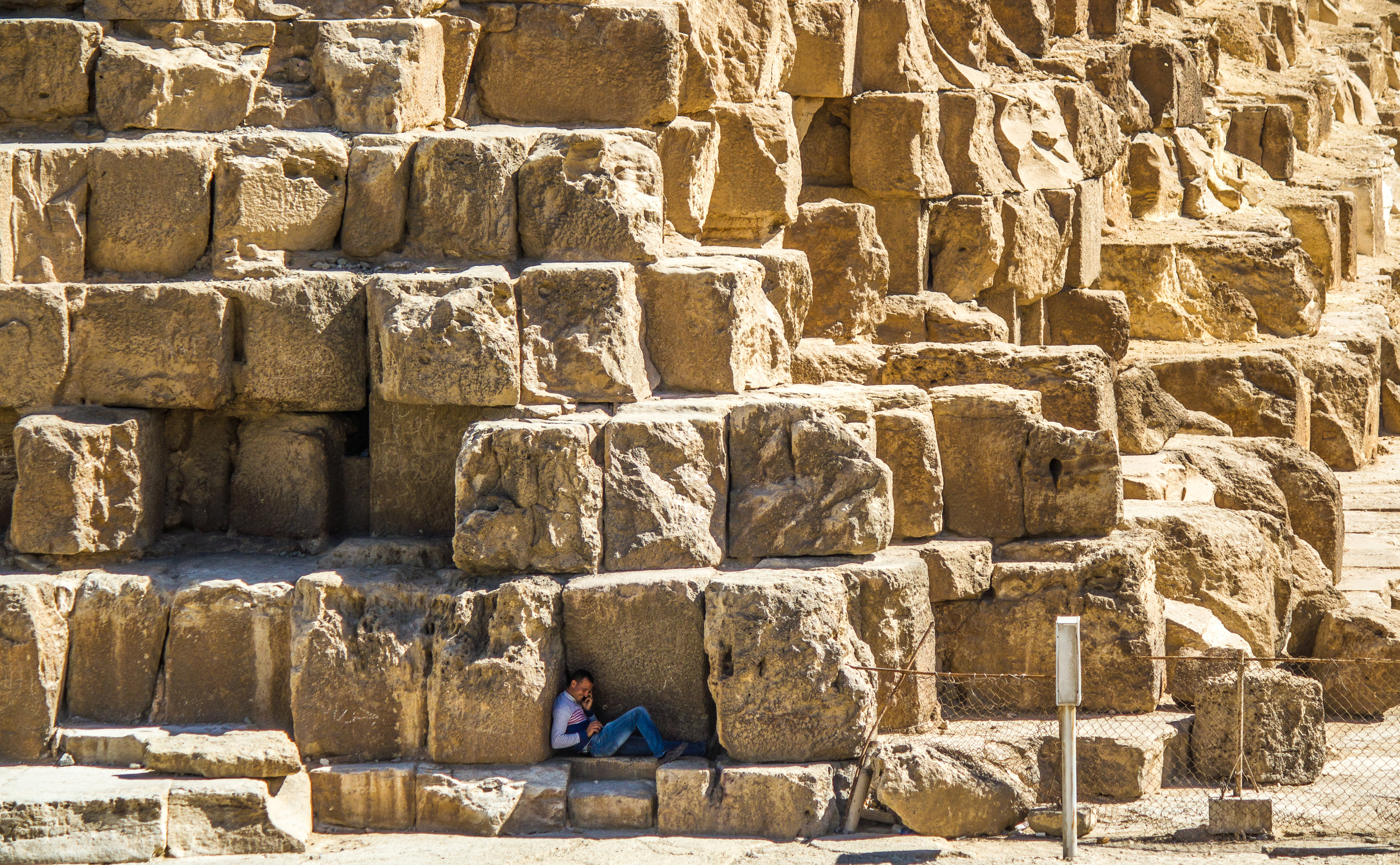Phone call at the Pyramids