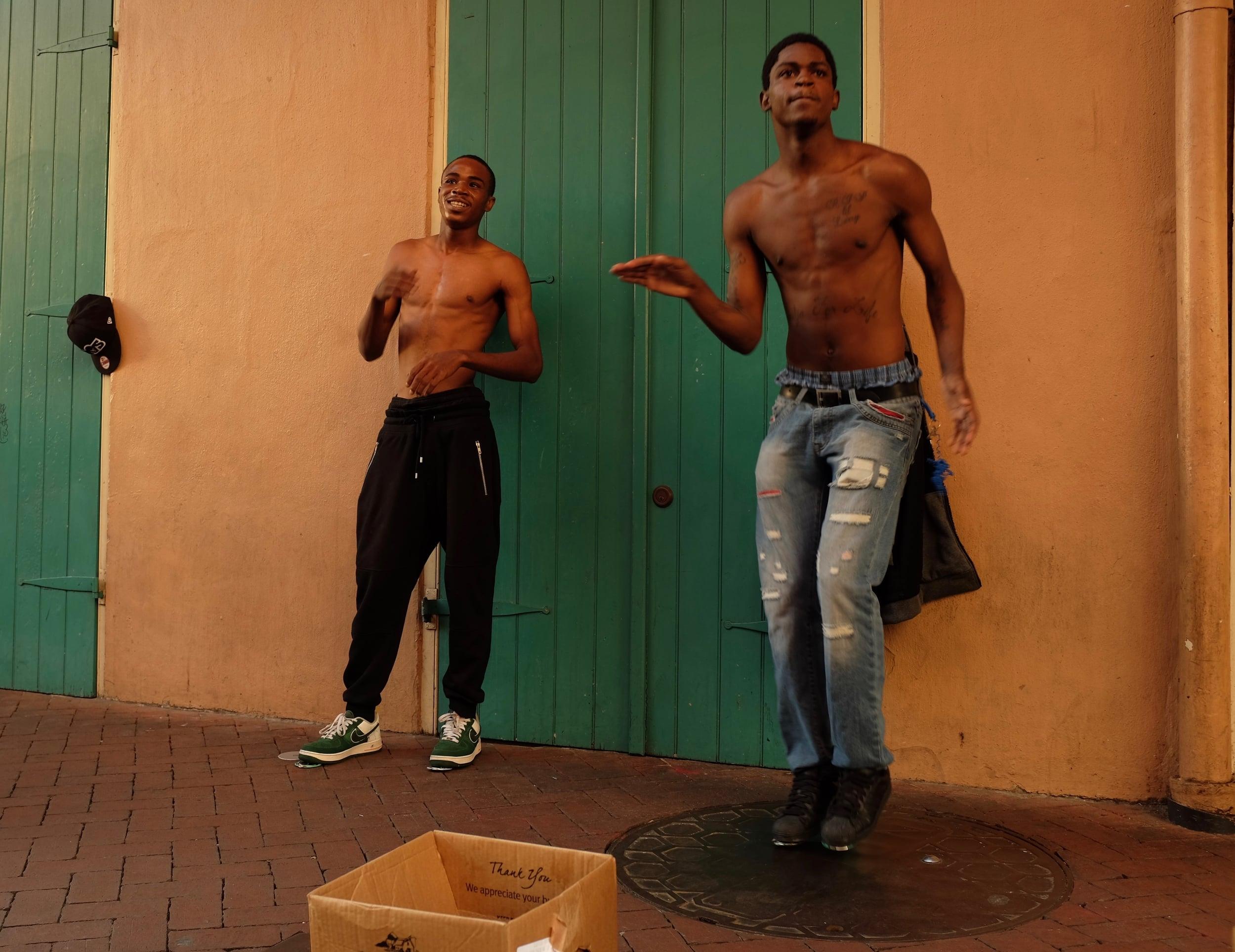 Street performers, Bourbon Street, French Quarter. November 13, 2015.