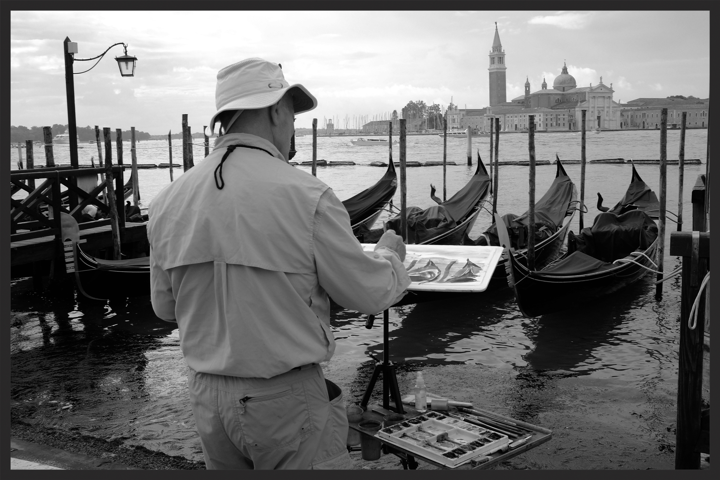 Artist at work early in the morning at San Marco.