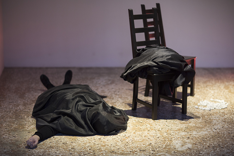 photo credit:Marking Time V,7 day/24 hour durational performance by Marilyn Arsem,Venice International Performance Art Week,Palazzo Mora, Venice, Italy,December 2014. Photos by Monika Sobczak