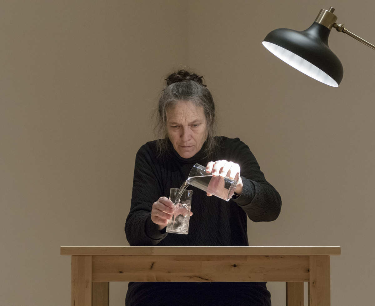 Marilyn Arsem,  100 Ways to Consider Time   (2015). Day 28: December 7, 2015. Museum of Fine Arts, Boston.Jeanne and Stokley Towles Gallery. Photograph © Museum of Fine Arts, Boston