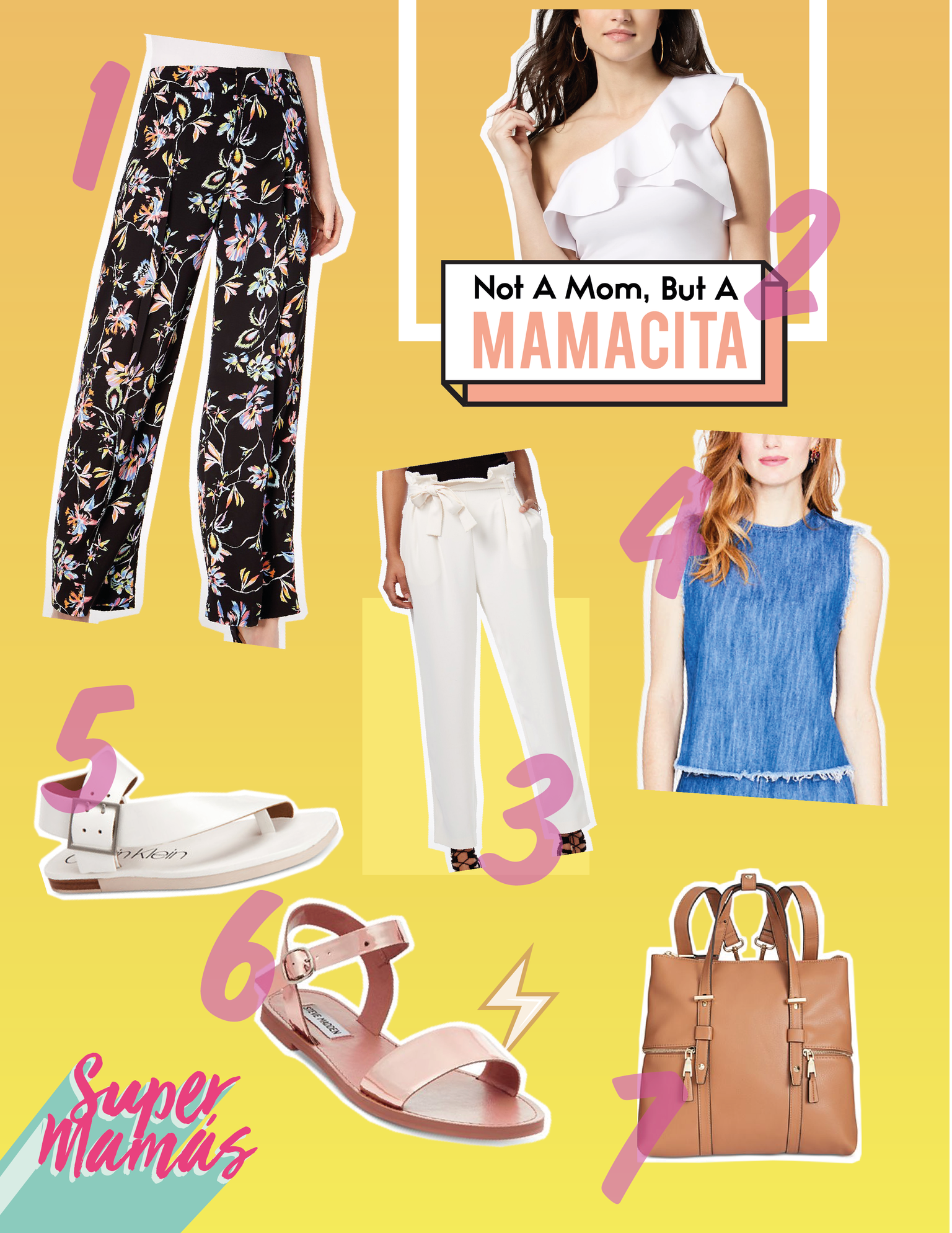 1.  Bar III   Printed Wide-Leg Pants  2.  Molly Cropped One-Shoulder Flounce Top  3.  RACHEL Rachel Roy   Paper Bag Tapered Trousers  4.  RACHEL Rachel Roy  Cotton Frayed-Edge Denim Top  5.  Calvin Klein   Women's Rivita Flat Sandals  6.  Steve Madden   Donddi Flat Sandals  7.  I.N.C. Haili Extra-Large Convertible Backpack