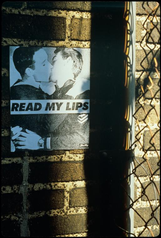 "Manuscripts and Archives Division, The New York Public Library. ""Read My Lips (Boys) (Posted on a brick wall near a fence)"" The New York Public Library Digital Collections."