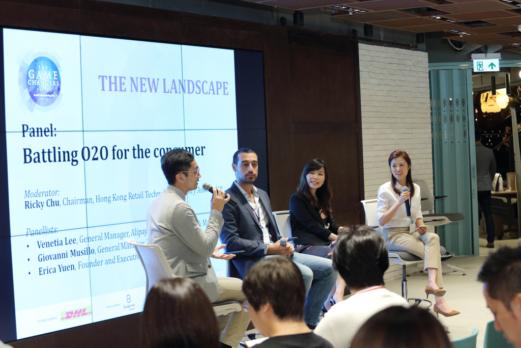 """(From left) Ricky Chu, Chairman,Hong Kong Retail Technology Industry Association; Giovanni Musillo, General Manager,ZALORA Hong Kong;Venetia Lee, General Manager,Alipay Hong Kong, Taiwan & Macau; and Erica Yuen, Founder and Executive Director,Mi Ming Mart sharing insights on """"Battling O2O for the consumer"""""""