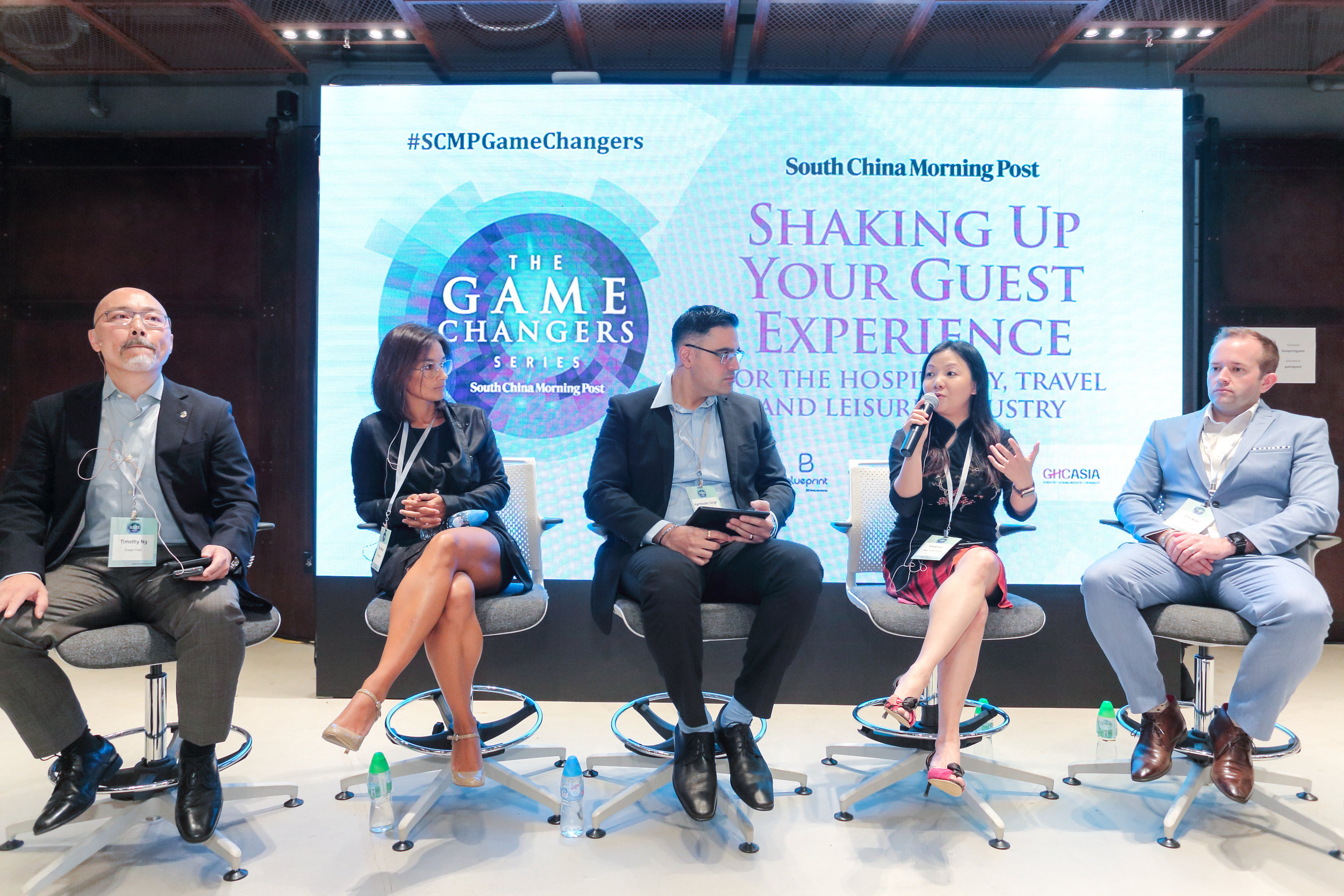 """(From left) Timothy Ng, Executive Director, Operations and Entertainment, Ocean Park Corporation; Pilar Morais, CEO, CHI Residences; Harminder Singh, Journalist, SCMP; Vivian Lo, General Manager, Customer Experience and Design, Cathay Pacific Airways; Tim Alpe, COO, Ovolo Hotels sharing insights on """"Millennials want more, can you deliver?"""""""