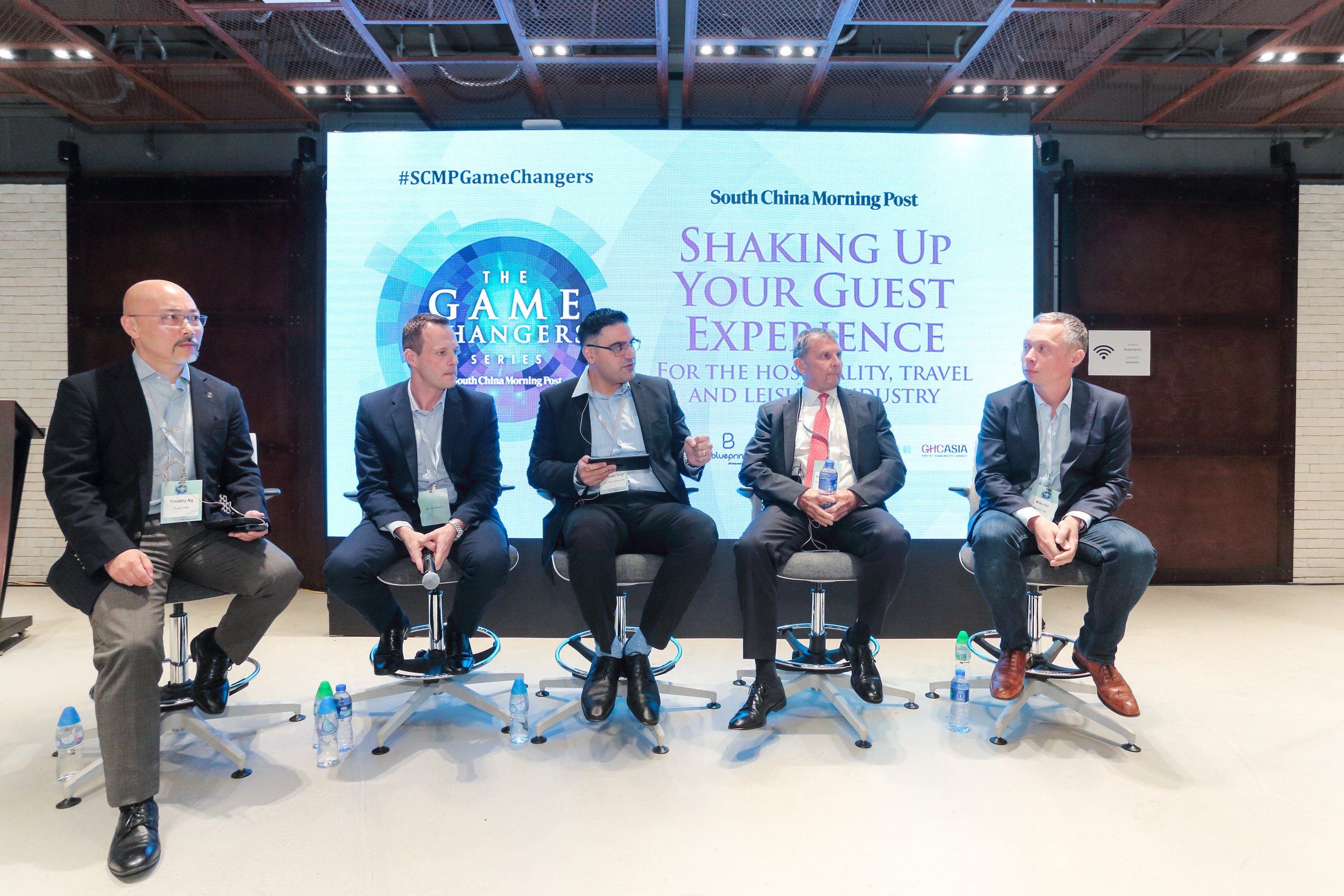 """(From left) Timothy Ng, Executive Director, Operations and Entertainment, Ocean Park Corporation; Chris Birt, General Manager, Service Delivery, Hong Kong Airlines; Harminder Singh, Journalist, SCMP; Jean Michel Offe, Executive Vice President, Food and Beverages, Shangri-La Hotels and Resorts; Mike Hill, CEO, Magnetic Asia sharing insights on """"What will the travel, hospitality and leisure sector look like in 2030?"""""""