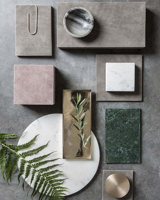 #flatlay #moodboard #inspo #textures #colours #greenery #concrete #marble #metals #interiors