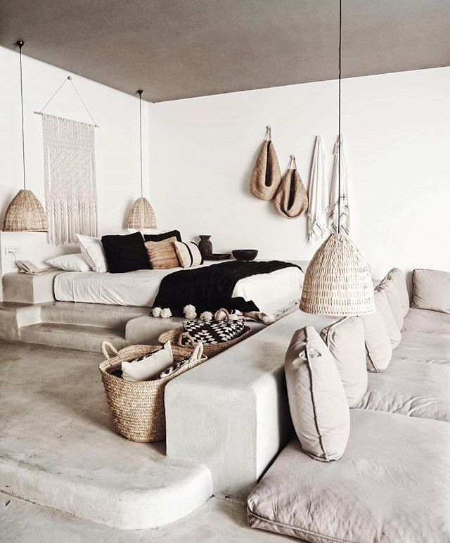 INSPO: Concrete earth toned living . . . #concrete #earthy #natural #textures #home #inspo #design #interiors #bedroom #livingroom #grey #woven #relaxed #love