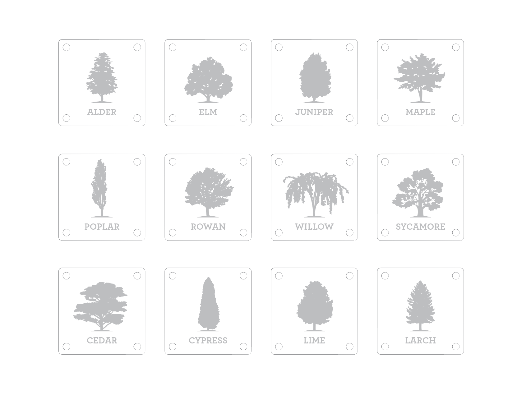 The full series of nameplates, named after various tree types