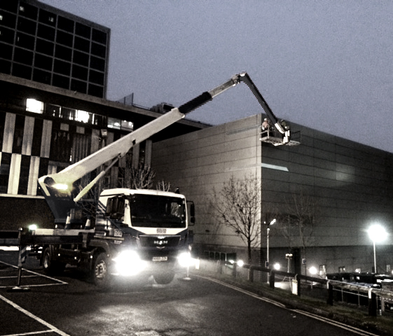 One of our installation teams working into the evening