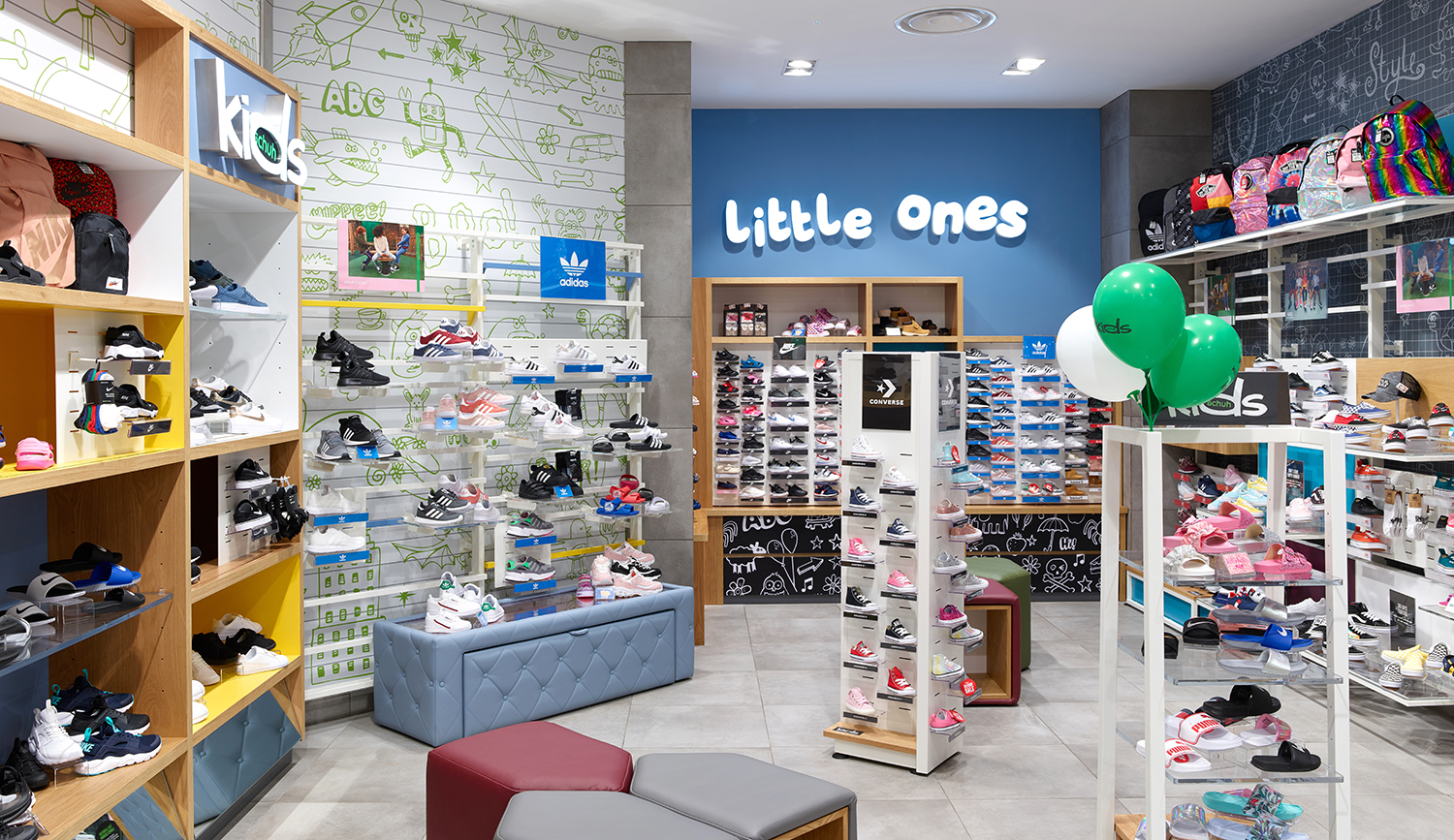 In-store elements including; Kids, little ones branding both face illuminated via LEDs and digital print wall graphics