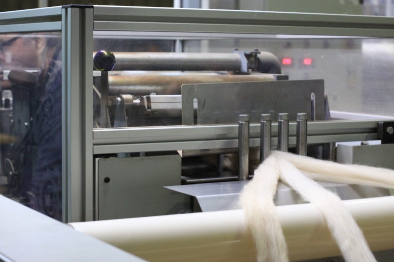 The pin drafter is a combing or gilling stage that aligns fibres ready for spinning. Rovings after this stage are suitable to be used for our spinning purposes, for hand spinners or for felting.