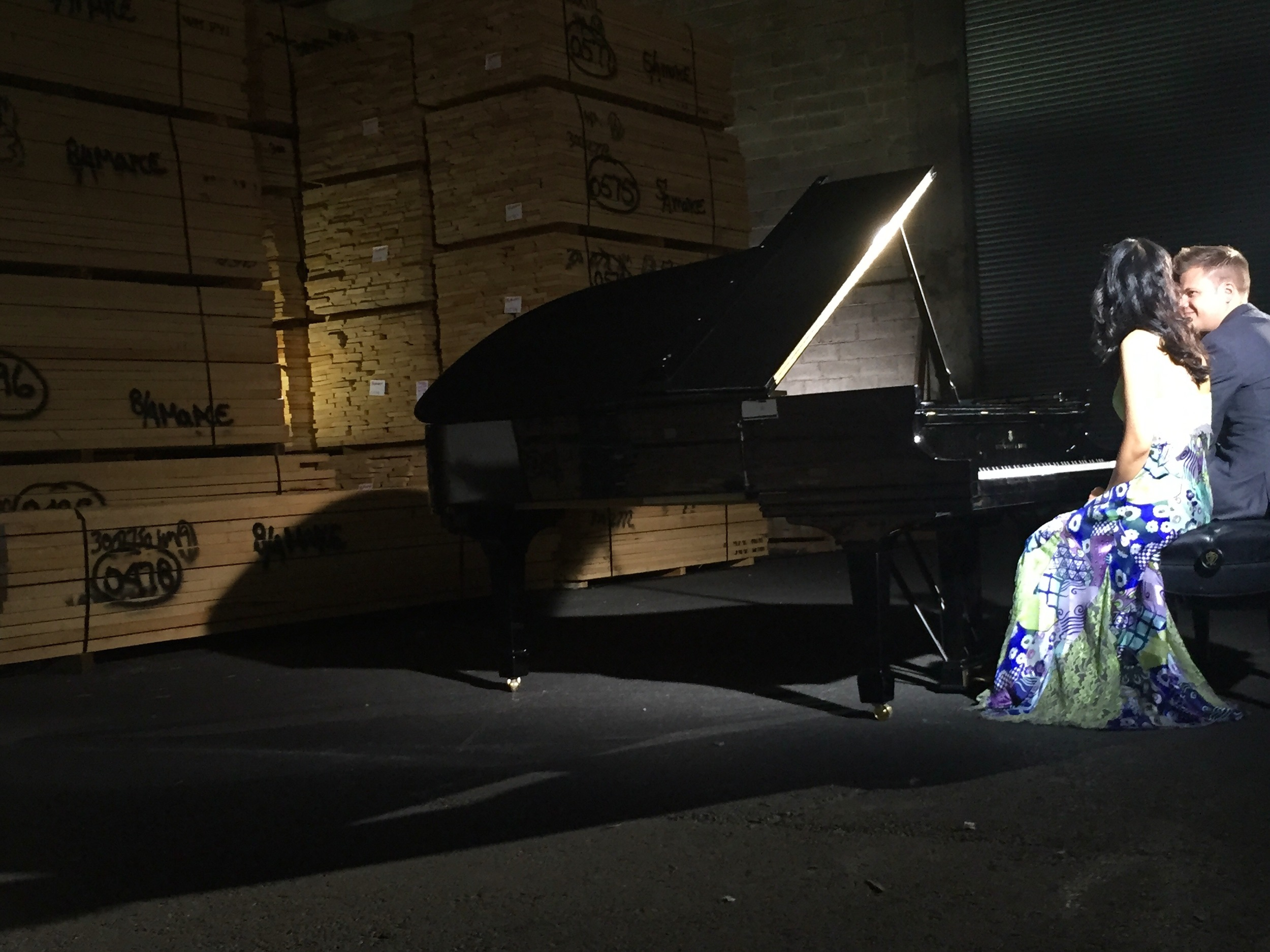 Waiting between takes ... behind-the-scenes at the Steinway Factory in Astoria, NY