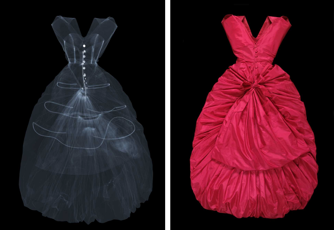 Silk taffeta evening dress, Balenciaga, 1954. Museum no. T.427-1967. © Victoria and Albert Museum, London. X-ray by Nick Veasey, 2016. © Nick Veasey.