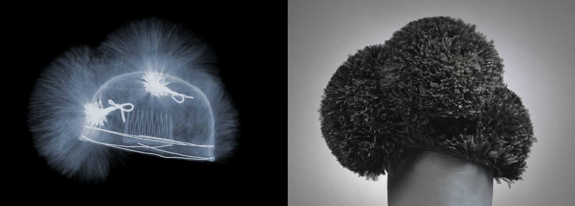 Ostrich feather hat, Balenciaga, 1955 – 60. Museum no. T.60-1974. © Victoria and Albert Museum, London. X-ray by Nick Veasey, 2016. © Nick Veasey.