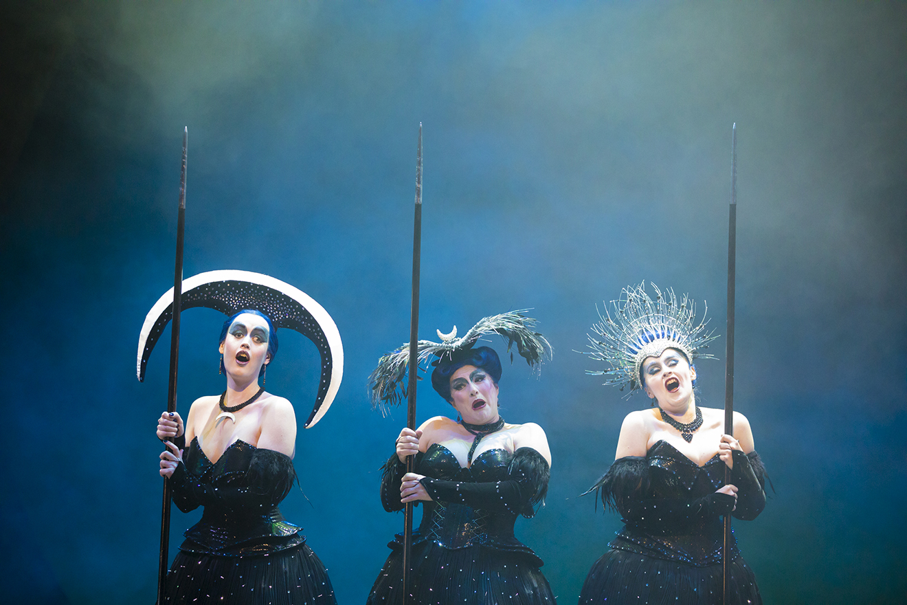 Bethan Langford (Second Lady), Jeni Bern (First Lady) and Sioned Gwen Davies (Third Lady) in The Magic Flute. Scottish Opera 2019. Credit James Glossop.JPG