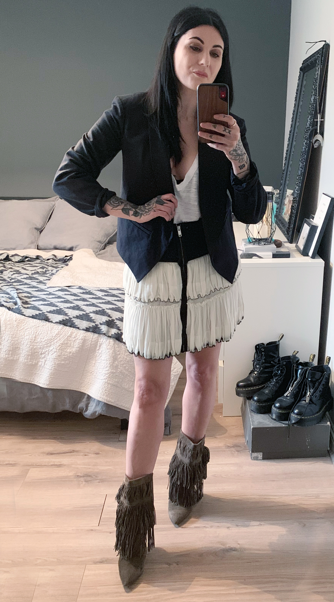 Isabel Marant skirt, jacket and boots / Free People tee