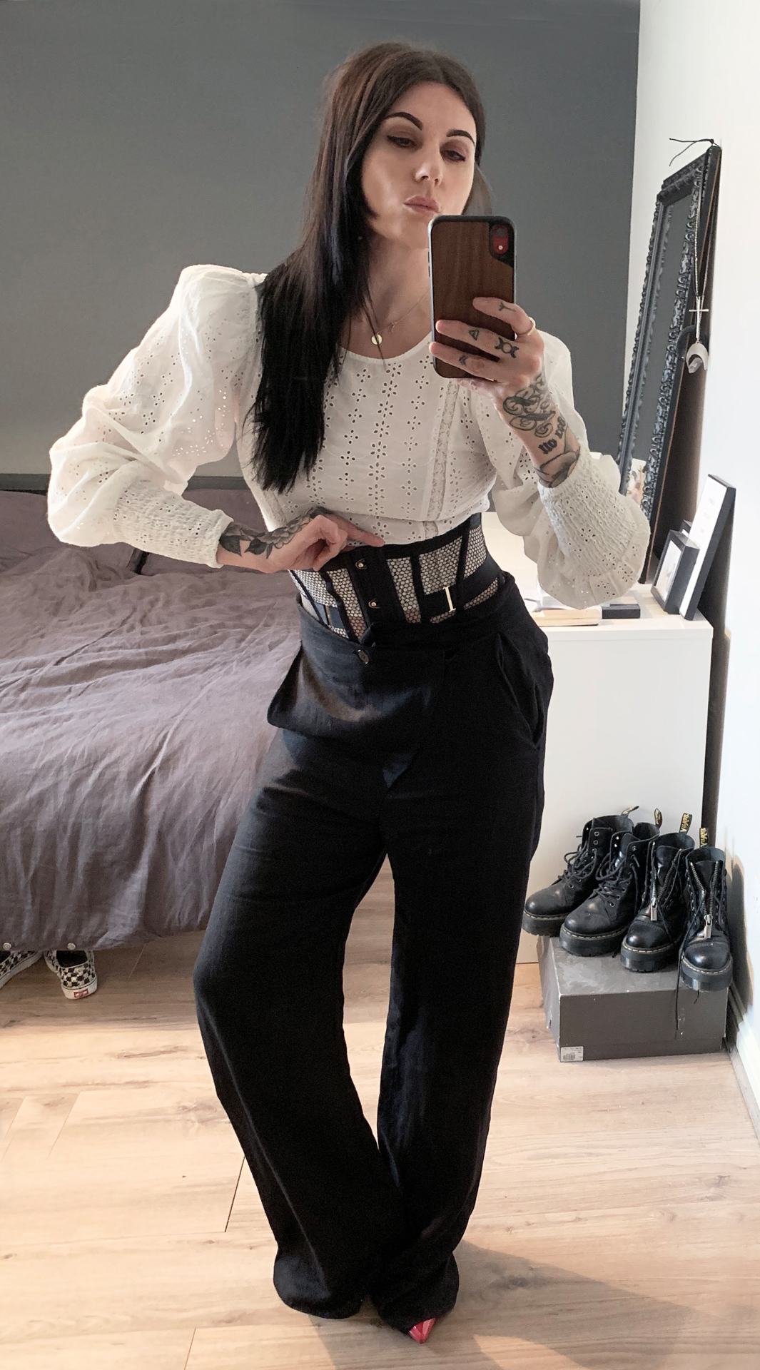 Jean Pierre Braganza trousers / Honey Birdette Corset belt / Zara top
