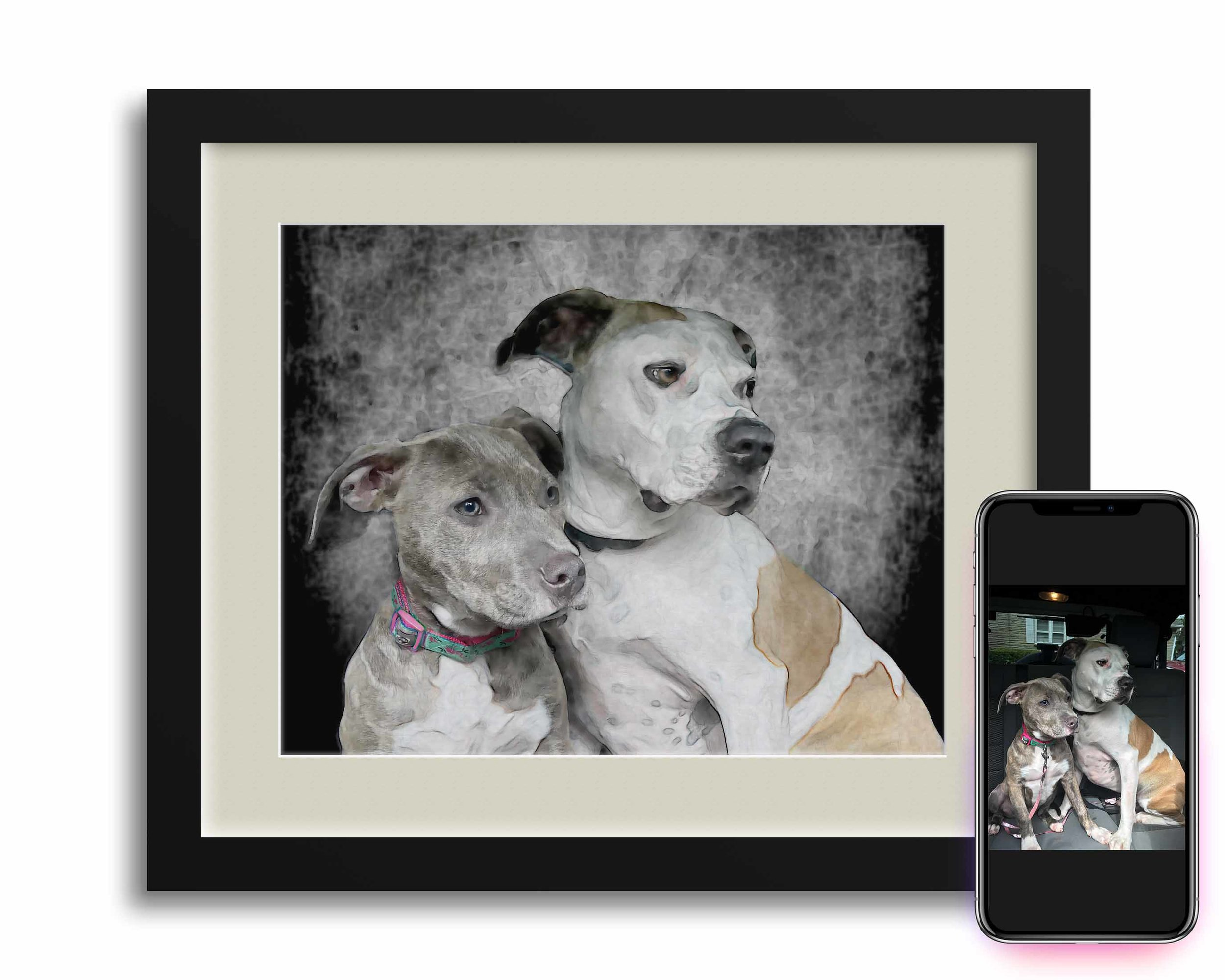 Hannah, like most pet owners, loves her dogs, especially one particular photo of them in her truck on her smartphone. Her problem, you can't really hang your smartphone on the wall. We agreed on two treatments, one photograph portrait and one PhotoColor portrait for her walls.
